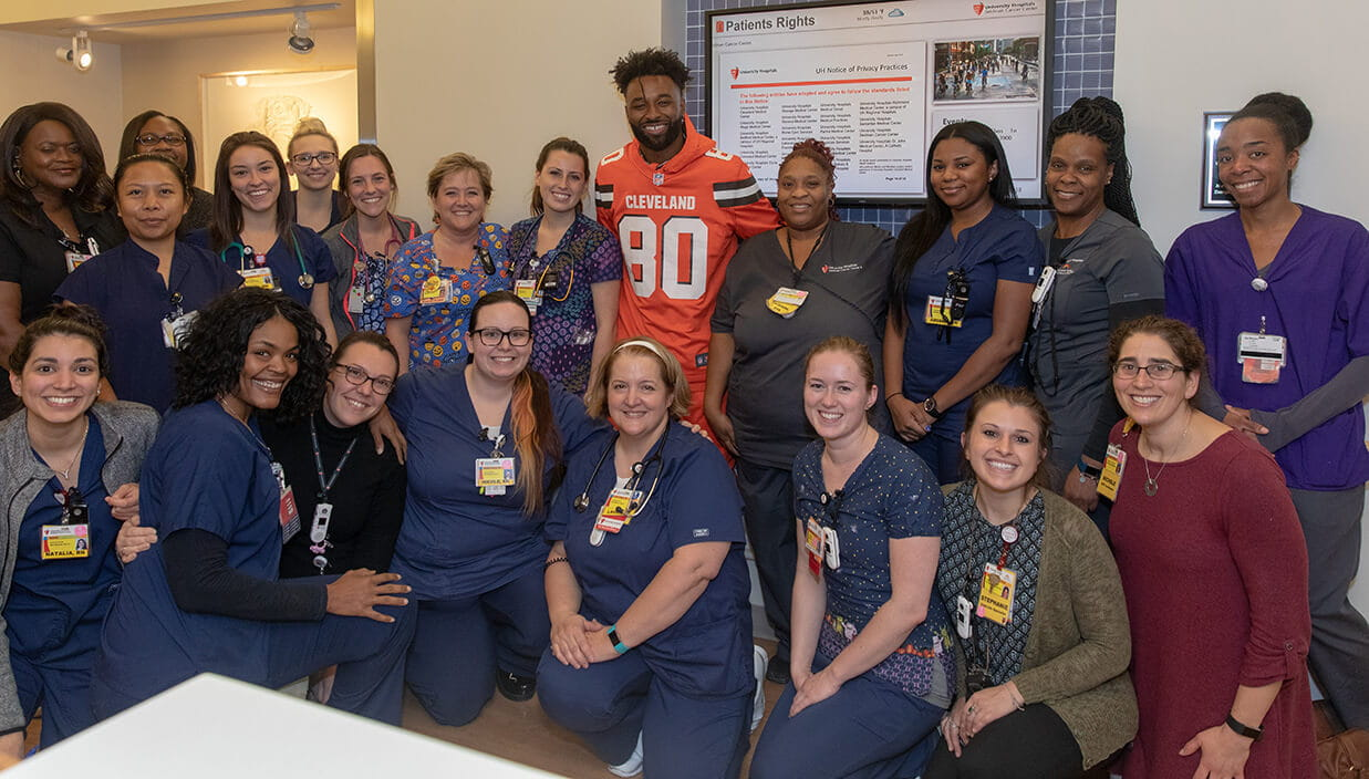 Browns player Jarvis Landry with University Hospitals staff