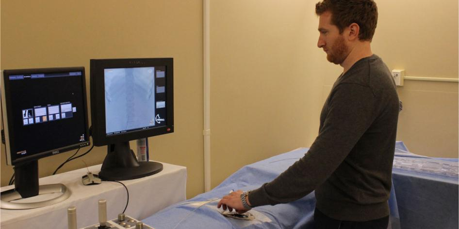 Image of person using the IR Simulator