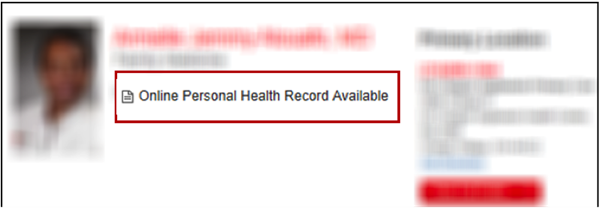 Screen capture: Online Personal Health Record Available prompt