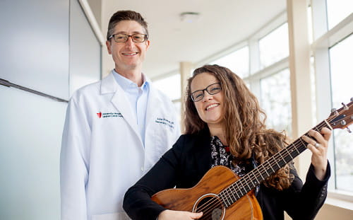(Left) Oncologist, Dr. Judah Friedman and (Right) Music Therapist, Forrest Paquin