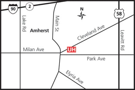 Map of UH Amherst Health Center