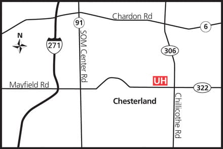 Map of UH Chesterland Health Center