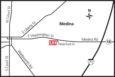 Map of UH Medina Health Center