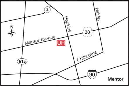 Map of UH Mentor Health Center